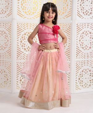 Saka Designs Sleeveless Choli With Sequin Work Lehenga & Dupatta Flower Corsage - Peach Pink