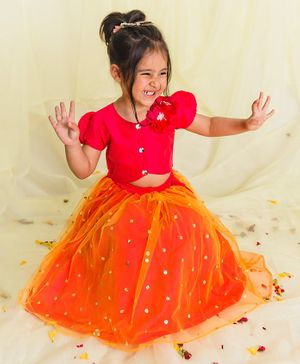 Saka Designs Solid Dyed Lehenga Choli Set - Orange & Pink