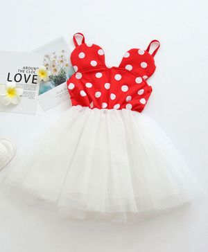Pre Order - Awabox Sleeveless Polka Dot Print Tulle Flare Dress - Red