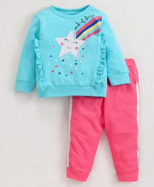 Babyoye Cotton Full Sleeves Winter Tee And Lounge Pant Star Print - Blue Pink