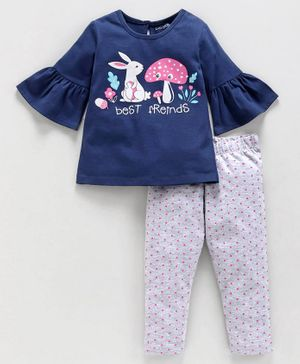 Babyoye Bell Sleeves Cotton Top & Polka Dotted Lounge Pant Bunny Print - Navy Blue