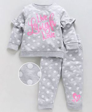 Babyoye Full Sleeves Polka Dotted Cotton Tee & Lounge Pant Text Print  - Grey