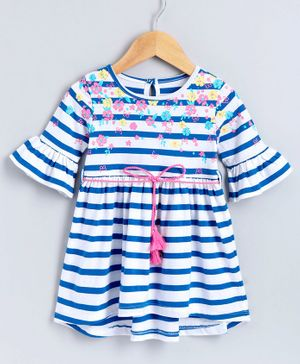 Babyoye Full Sleeves Striped Cotton Frock Floral Print - White Blue