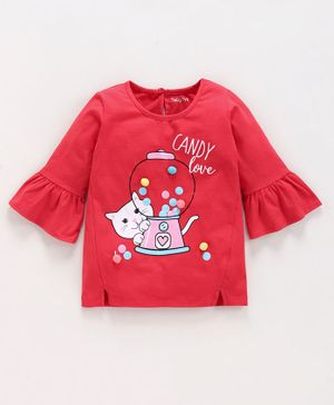 Babyoye Full Sleeves Cotton Top Candy Print - Red