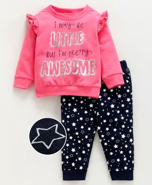 Babyoye Cotton Top & Bottom Set Star Print - Pink Blue