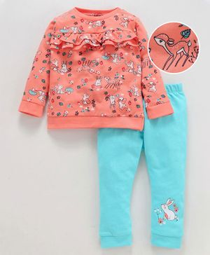 Babyoye Full Sleeves Cotton Tee & Lounge Pant Animal Print - Coral