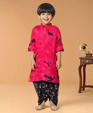 Lilpicks Couture Tie & Dye Full Sleeves Kurta With Gold Foil Print Dhoti - Pink
