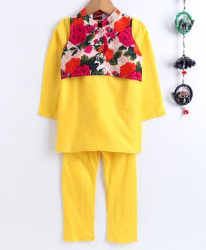 Twisha Full Sleeves Kurta With Flower Print Jacket & Pajama - Yellow