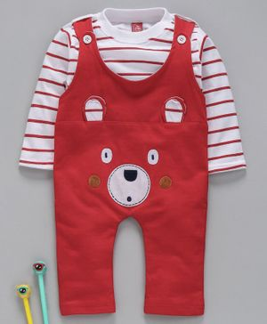 JBCLUB Striped Full Sleeves T-Shirt With Bear Face Patch Romper - Maroon