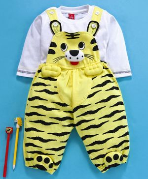 Jb Club Full Sleeves Tee With Tiger Theme Romper - Yellow
