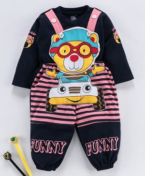 Jb Club Full Sleeves Tee With Bear Patch Dungaree Romper - Pink