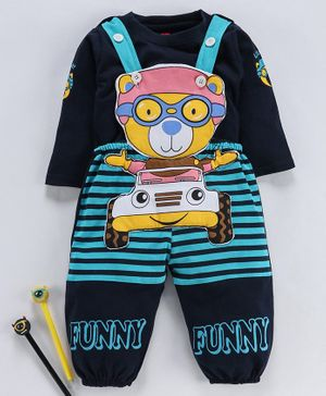 Jb Club Full Sleeves Tee With Bear Patch Dungaree Romper - Blue