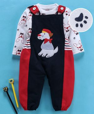 Jb Club Full Sleeves Dog Print Tee With Dungaree Romper - Red