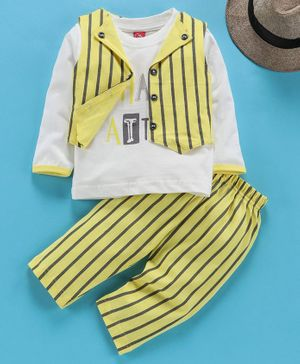 Jb Club Shark Print Full Sleeves Tee With Striped Jacket & Bottom - White & Yellow