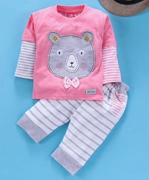 Jb Club Bear Face Patch Full Sleeves Tee With Bottom - Pink