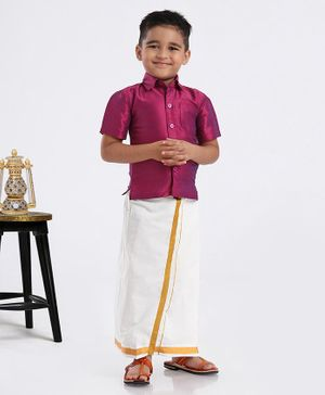 Ridokidz Solid Half Sleeves Shirt With Kasavu Mundu - Dark Pink