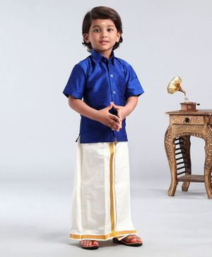 Ridokidz Solid Half Sleeves Shirt With Kasavu Mundu - Royal Blue
