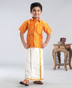 Ridokidz Solid Half Sleeves Shirt With Kasavu Mundu - Yellow