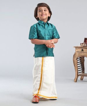 Ridokidz Solid Half Sleeves Shirt With Kasavu Mundu - Green