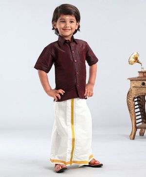 Ridokidz Solid Half Sleeves Shirt With Kasavu Mundu - Dark Maroon