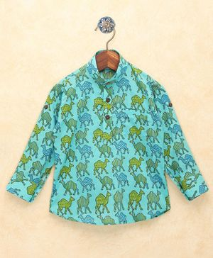Lil Pitaara Camel Print Full Sleeves Kurta - Light Blue