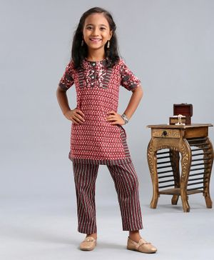 Bodhi Rai Half Sleeves Kurta With Striped Pyjama - Red