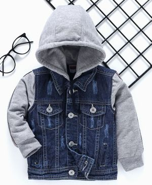 Babyhug Full Sleeves Hooded Denim Jacket - Blue Grey