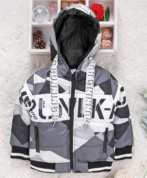Little Kangaroos Full Sleeves Quilted Hooded Jacket Running Print - Grey