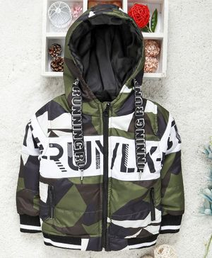 Little Kangaroos Full Sleeves Quilted Hooded Jacket Running Print - Green