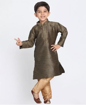 Vastramay Printed Full Sleeves Kurta & Pajama Set - Brown