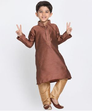 Vastramay Printed Full Sleeves Kurta & Pajama Set - Light Brown