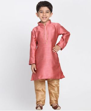 Vastramay Solid Full Sleeves Kurta & Pajama Set - Pink