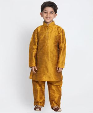 Vastramay Solid Full Sleeves Kurta & Pajama Set - Golden