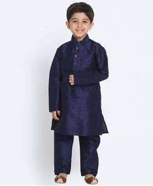 Vastramay Solid Full Sleeves Kurta & Pajama Set - Navy Blue