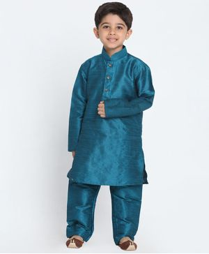 Vastramay Solid Full Sleeves Kurta & Pajama Set - Turquoise