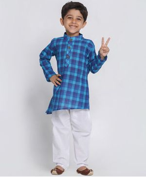 Vastramay Checkered Full Sleeves Kurta With Pyjama - Blue