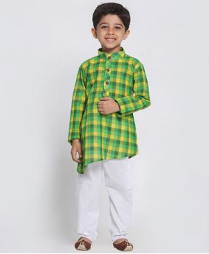 Vastramay Checkered Full Sleeves Kurta With Pyjama - Green