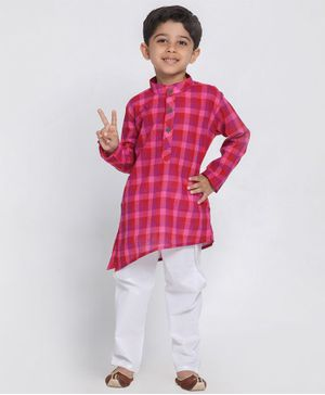 Vastramay Checkered Full Sleeves Kurta With Pyjama - Purple