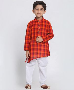 Vastramay Checkered Full Sleeves Kurta With Pyjama - Red