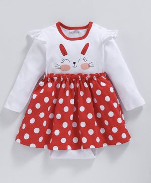 Babyoye Full Sleeves Polka Dotted Cotton Frock Style Onesie Bunny Print - White Red