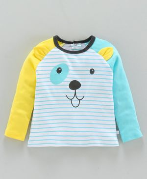 Babyoye Full Sleeves Cotton Striped Tee 3D Puppy Design - Blue White