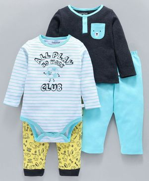 Babyoye Full Sleeves Cotton Onesie And Tee With Lounge Pants Puppy Print - Black Blue Yellow