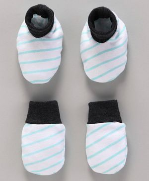 Babyoye Cotton Striped Mittens & Booties - White