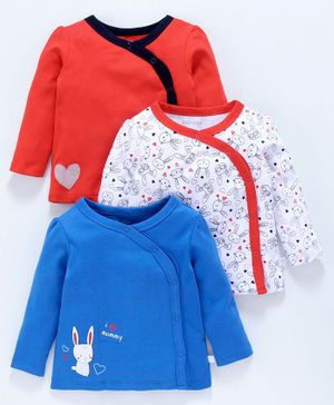 Babyoye Full Sleeves Cotton Printed Vests Pack of 3 - Coral White Blue
