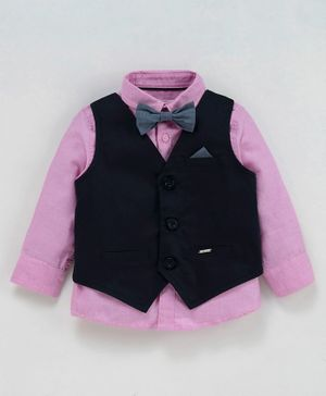 Babyoye Full Sleeves Shirt With Waistcoat & Bow - Pink