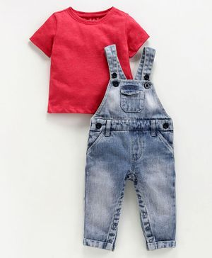 Babyoye Washed Dungaree With Inner Half Sleeves Solid Tee - Red
