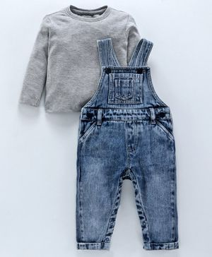 Babyoye Denim Dungaree Romper With Full Sleeves Tee - Grey