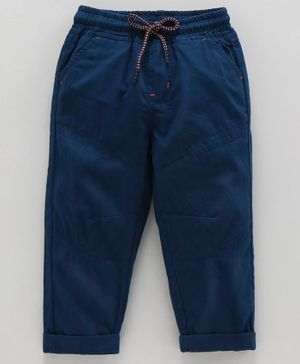 Babyoye Cotton  Full Length Solid Trousers - Navy Blue