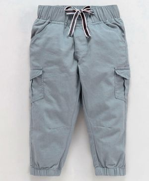 Babyoye Cotton Solid Jogger Pant With Drawstring - Grey
