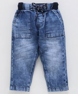 Babyoye Full Length Denim Jeans With Drawstring - Blue